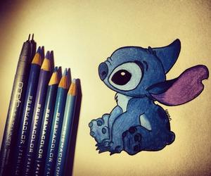 blue, stitch, and art image