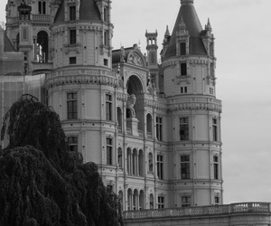 antique, black and white, and castle image