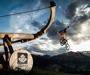 downhill, happiness, and mountain image
