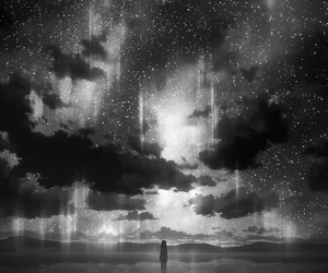 sky, anime, and stars image