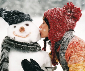 girl, kiss, and snow image