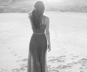 girl, beach, and dress image