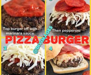 burger, pizza, and pizza burger love food image