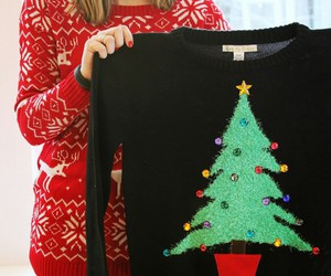 red christmas sweater and black christmas sweater image