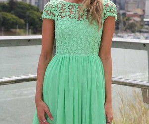 dress, green, and pretty image