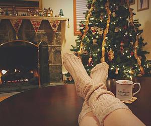 christmas tree, lights, and winter image