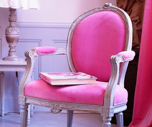 pink, chair, and book image