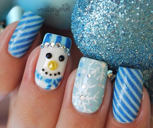 nails, blue, and snowman image