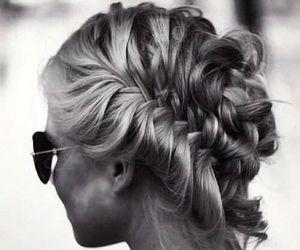 hair, braid, and sunglasses image