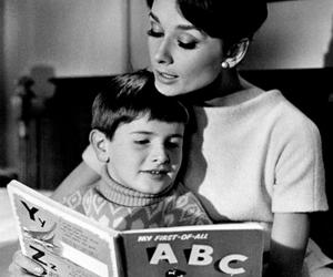 audrey hepburn, book, and child image