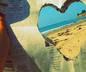 heart, beach, and newspaper image