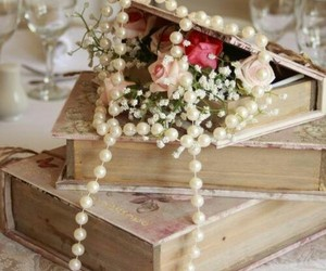 book, flowers, and pearls image
