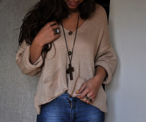 bling, cardigan, and cross image