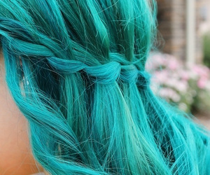 colored, hair, and green blue image