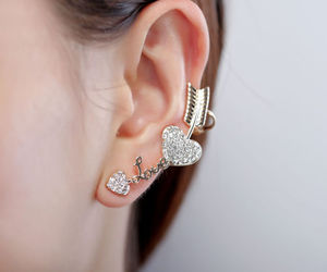 crystal cuff earring, gold cuff earring, and arrow cuff earring image