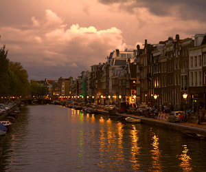 amsterdam, canal, and evening image