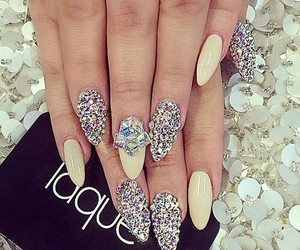 nails, diamond, and nail design image