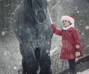 horse, child, and snow image