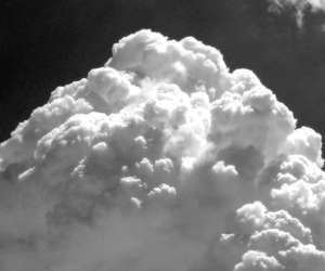 black and white, cloud, and sky image