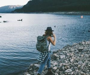 girl, lake, and beach image