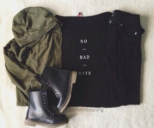 black shirt, fashion, and green jacket image
