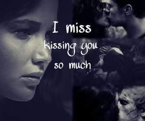 black and white, the hunger games, and kissing image