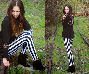 booties, fall fashion style, and vertical striped leggings image