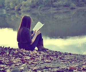 book, girl, and lake image