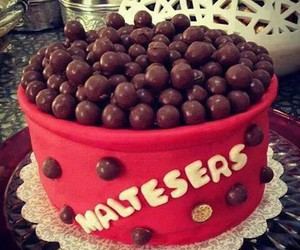 chocolate, maltesers, and cake image