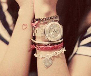 heart, watch, and bracelet image