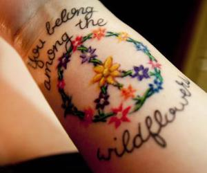 tattoo, peace, and flowers image