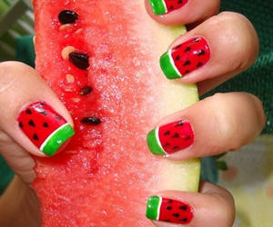 nails, watermelon, and fruit image