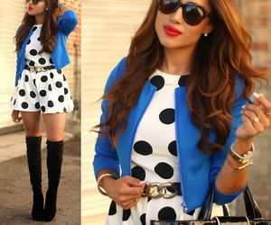 boots, fall fashion style, and black dots image