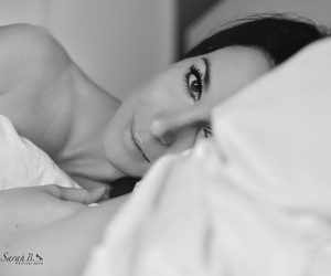 black and white, girl, and in bed image