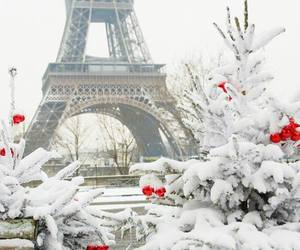 paris, snow, and christmas image