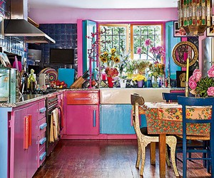 pink, kitchen, and colorful image