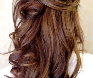 brunette, curly, and curly hair image