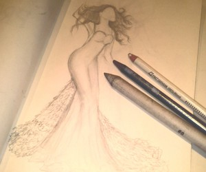 bride, drawing, and dress image