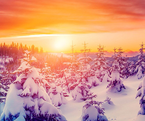 snow, beautiful, and sunset image