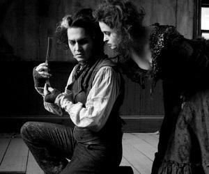 sweeney todd, black and white, and helena bonham carter image