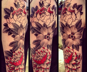 arm tattoo, sleeve tattoo, and flower tattoo image