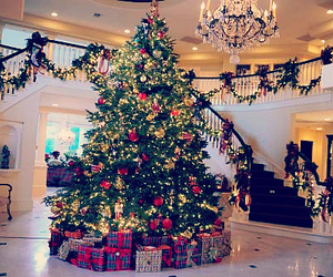 christmas tree, gifts, and winter image