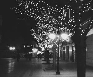 lights, black and white, and christmas image