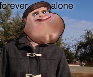 meme, forever alone, and youtuber image