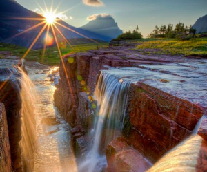 waterfall, nature, and sun image
