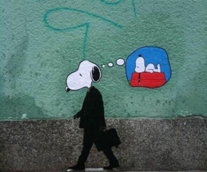 snoopy, rat race, and wage slave image