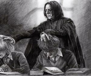 harry potter, black and white, and snape image