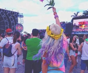 girl, festival, and flowers image