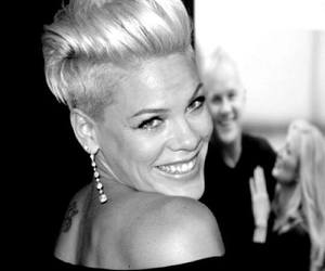 beautiful, P!nk, and black and white image