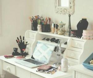 bedroom, desk, and make up image